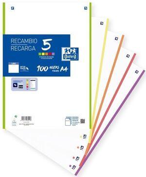 RECAMBIO OXFORD A4 100H LISO 90GR 5COL