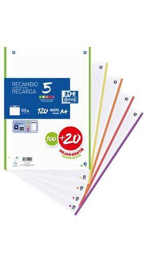 RECAMBIO OXFORD A4 100+20H 5MM 90GR 5COL VIVOS