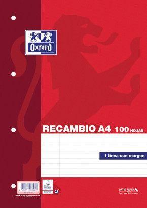 RECAMBIO A4 OXFORD 100H HRZTL 4T