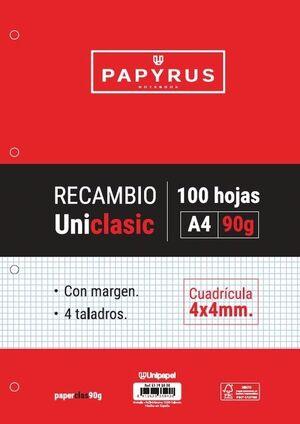 RECAMBIO UNICLAS A4 100H 90G 4 TALADROS CUAD. 4X4 C/MARGEN